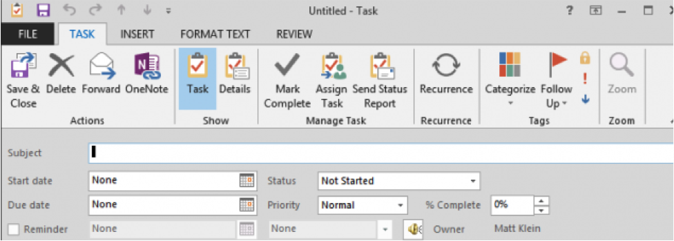 Task management in Outlook
